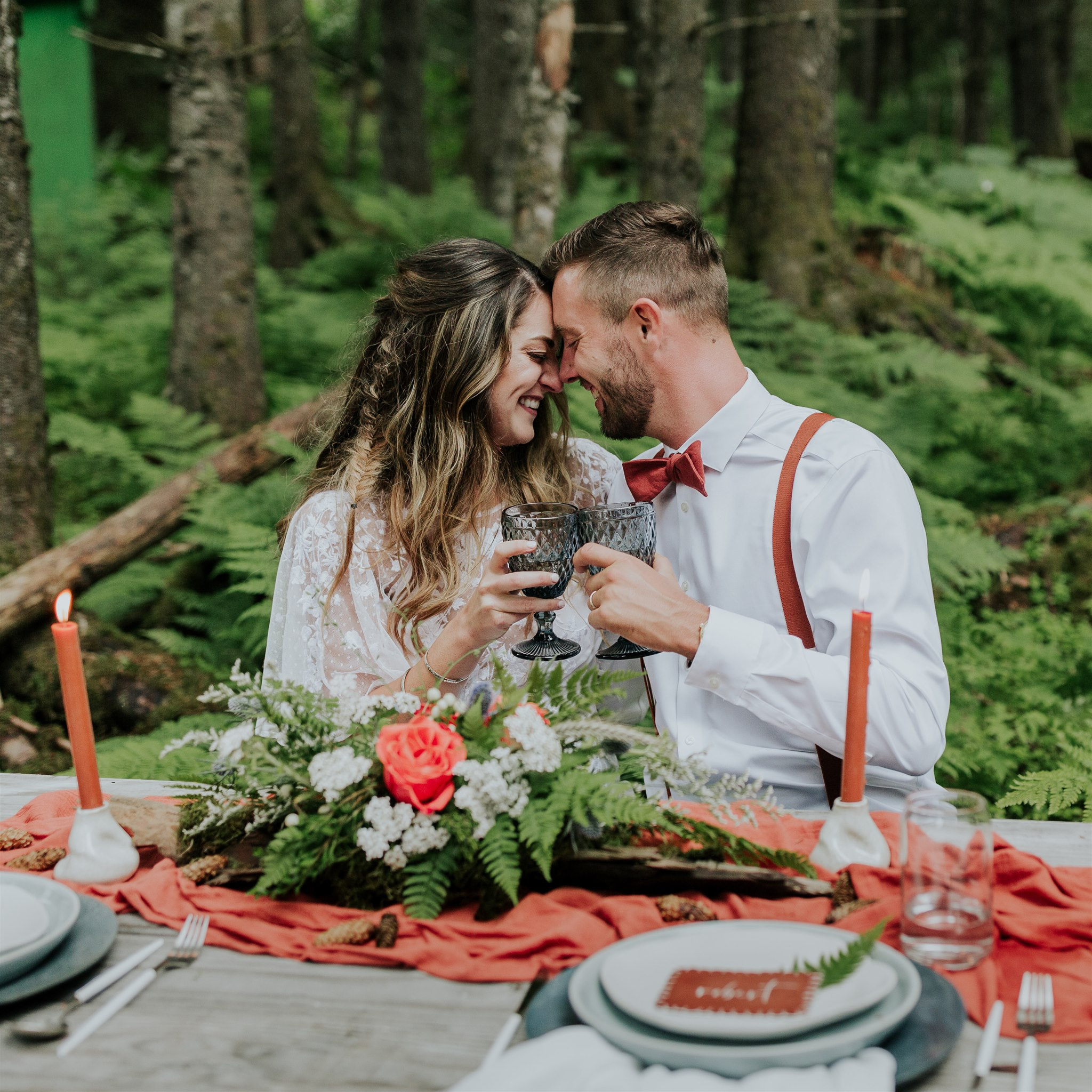 alaska elopement wedding picnic table