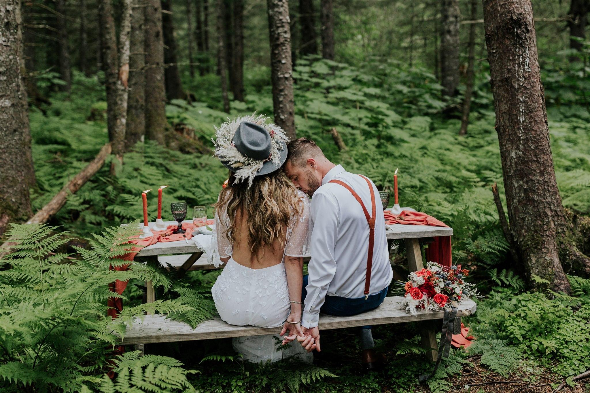 woodsy alaska elopement a-frame cabin
