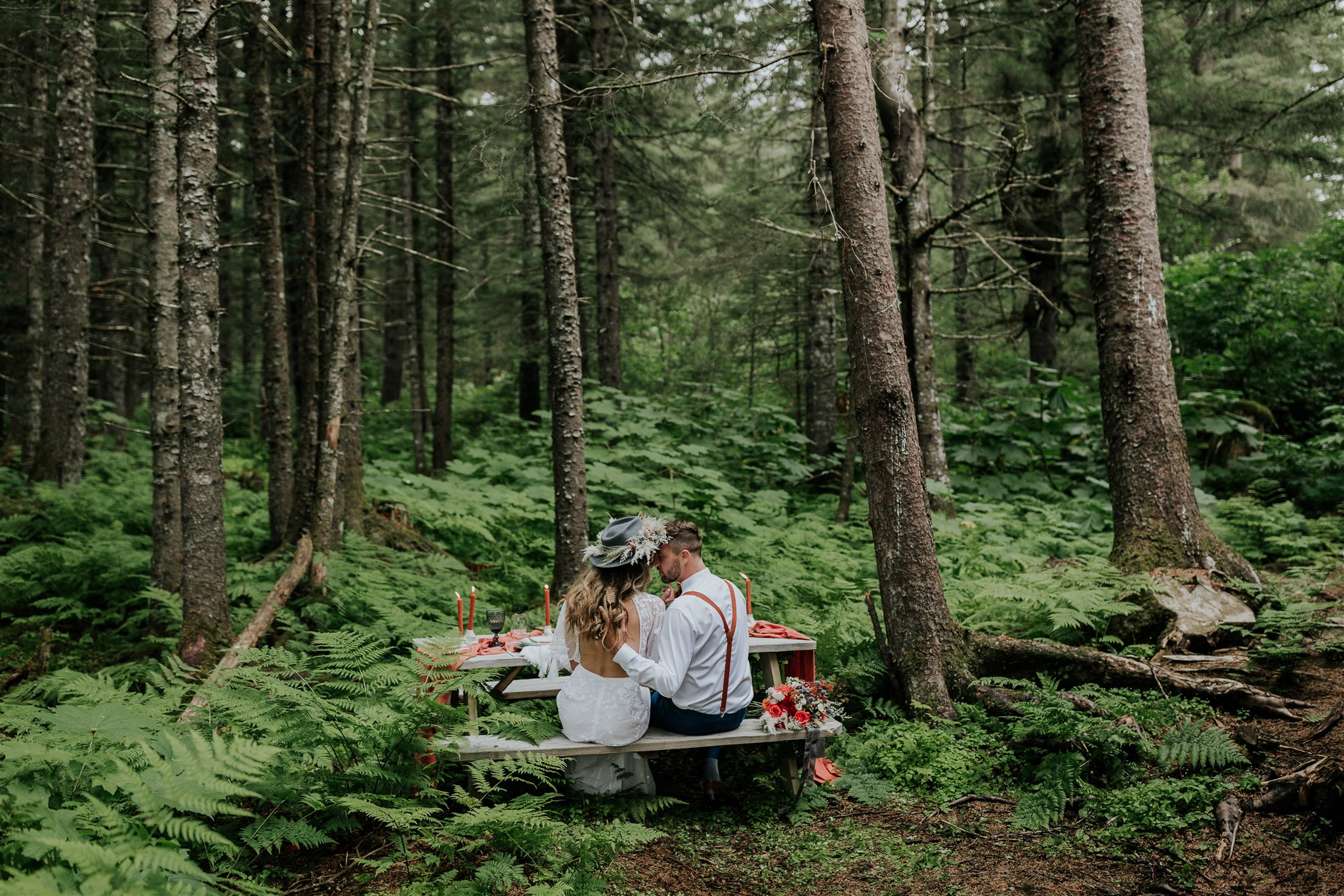 forest wedding alaska a-frame cabin