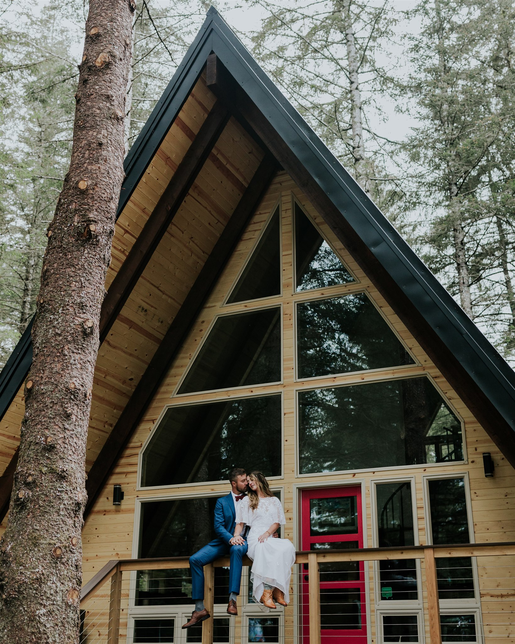 salted roots alaska a-frame cabin wedding