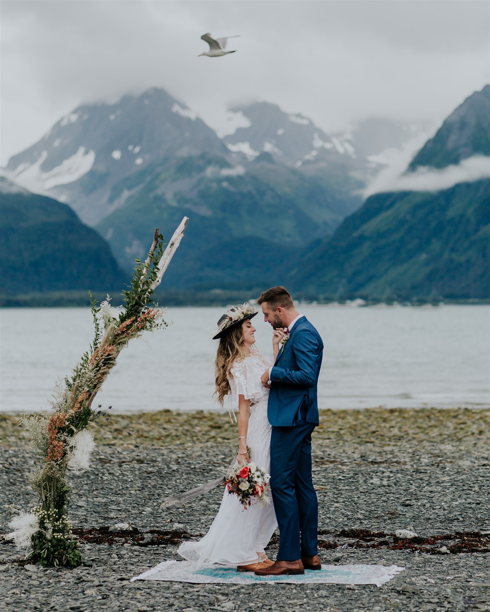 mountain elopement alaska wedding photographer beach miller's landing