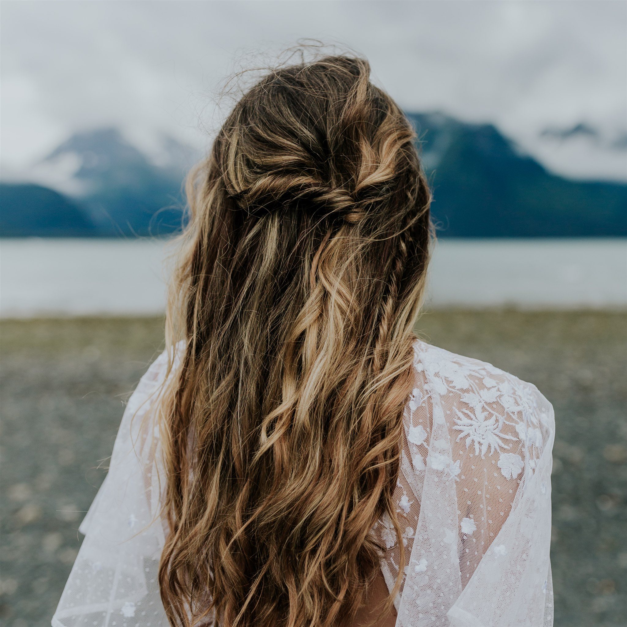adventure elopement hairstyle bride