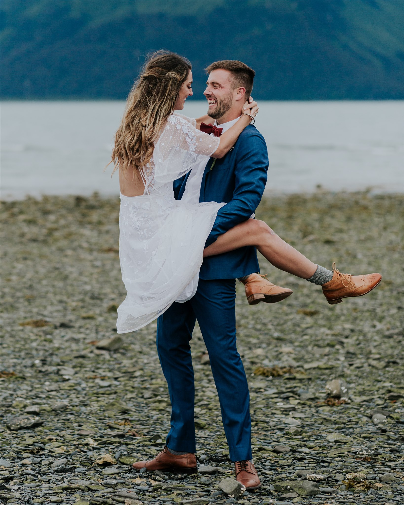 fun elopement photography poses alaska wedding