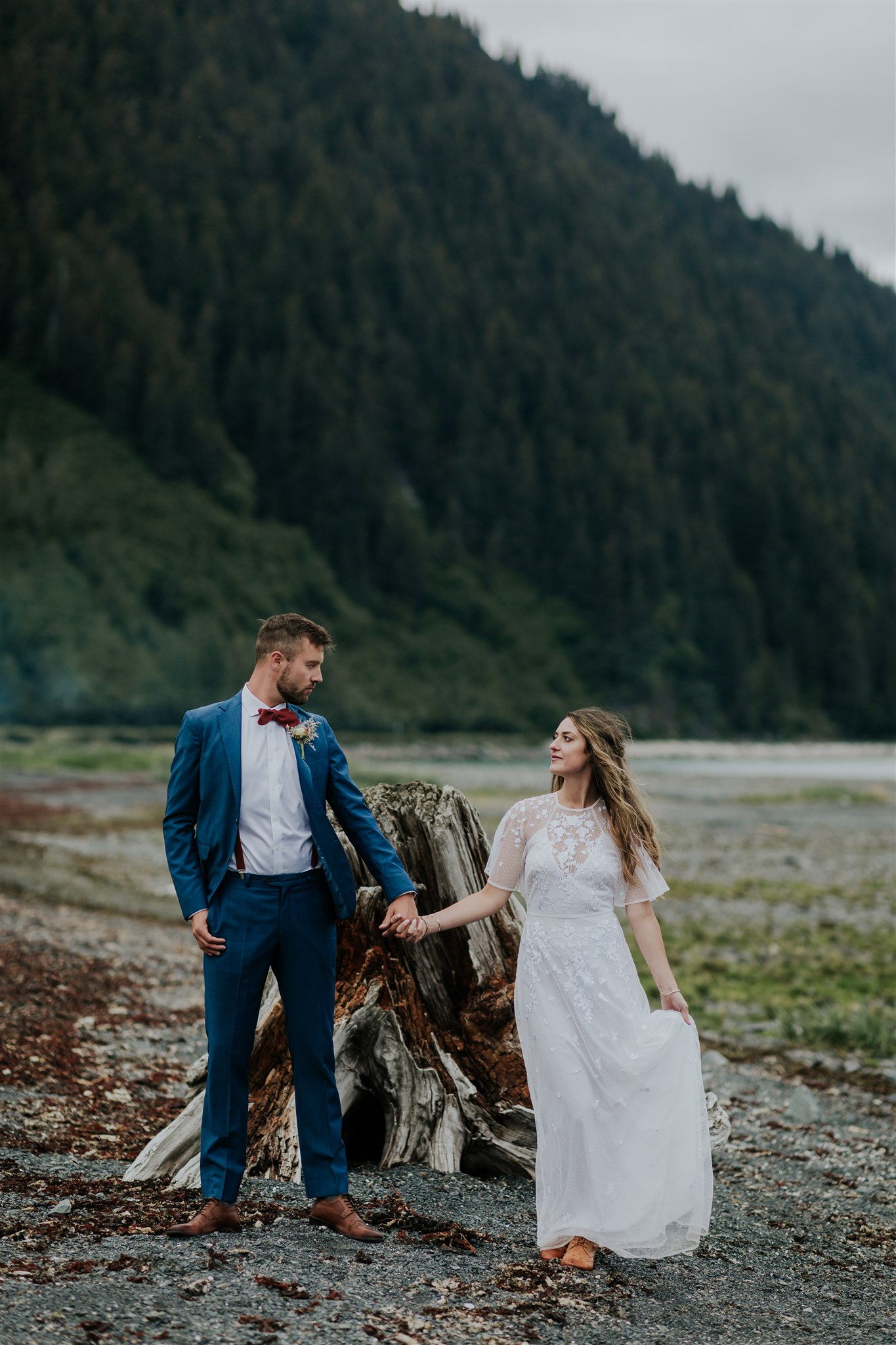 miller's landing wedding alaska mountain beach