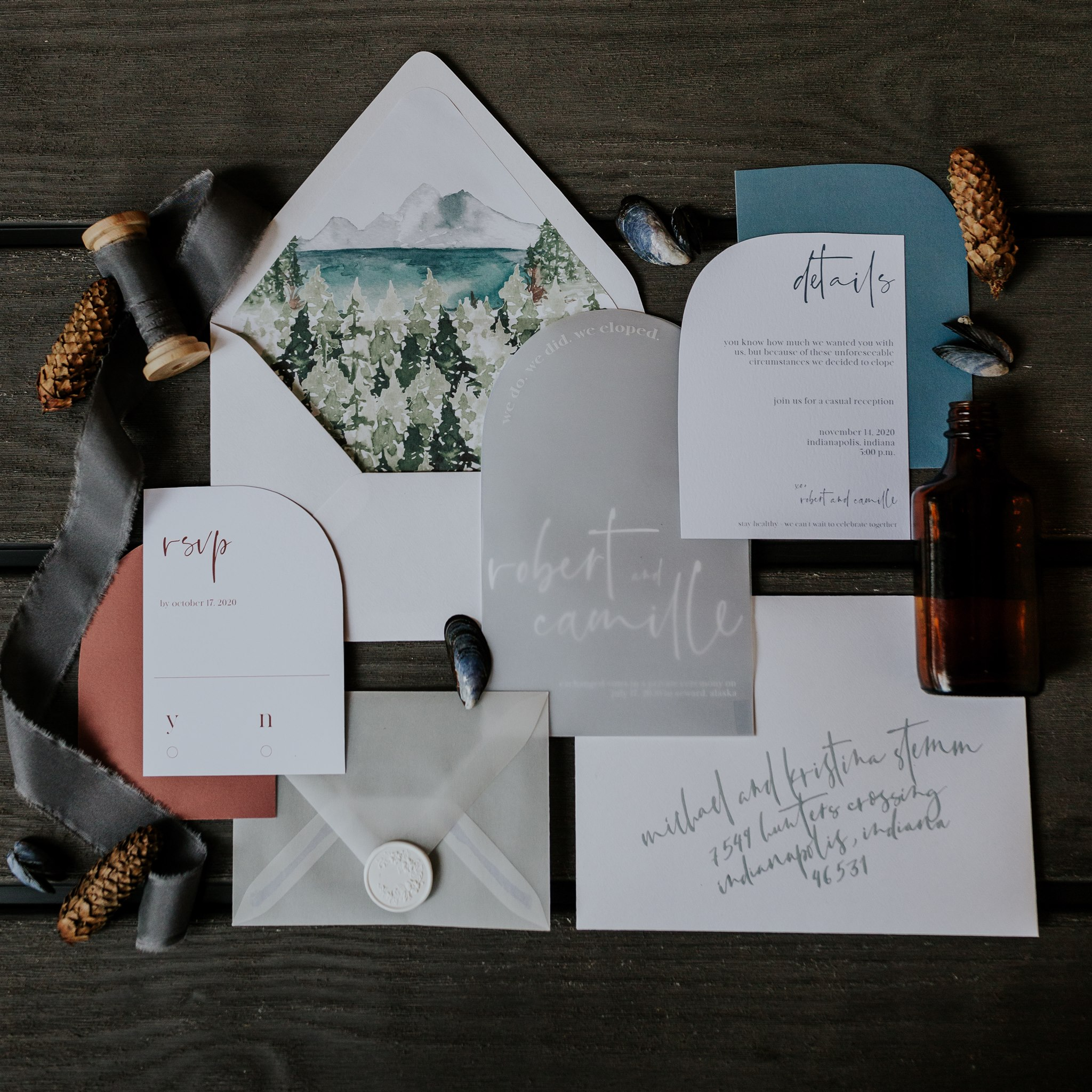 adventure elopement wedding invitation inspiration