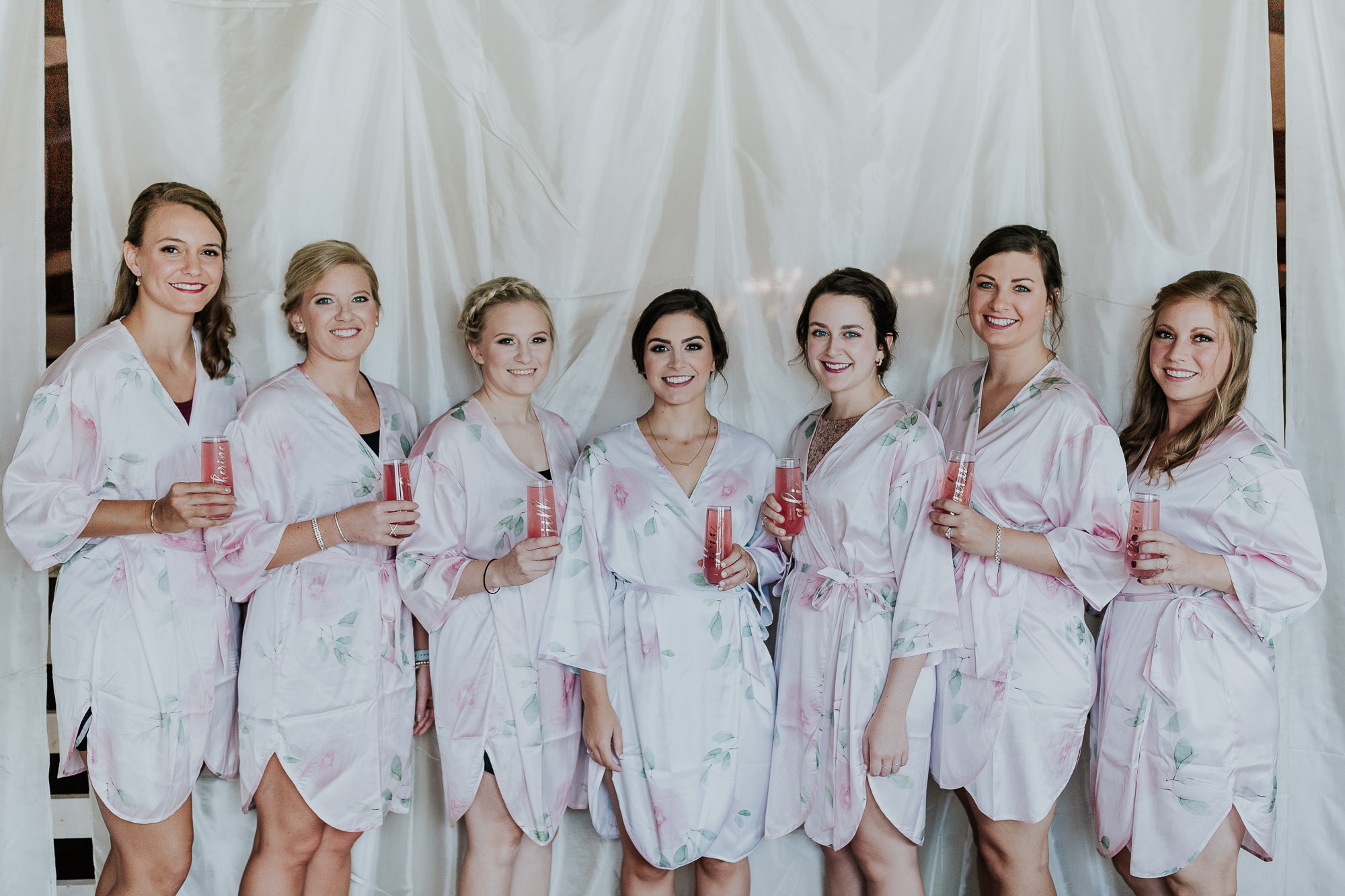 adventurous outdoor wedding southern indiana midwest wedding photographer bridesmaids robes drinks
