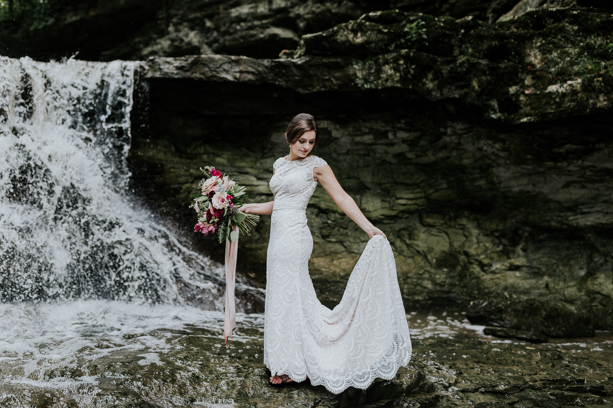 wedding at waterfall elopement photographer indiana