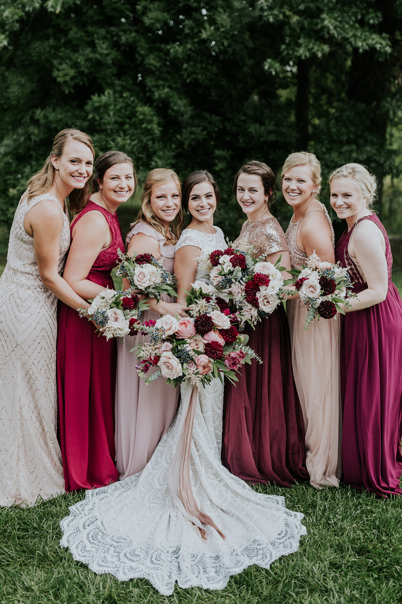 pink burgundy bridesmaids dresses blush