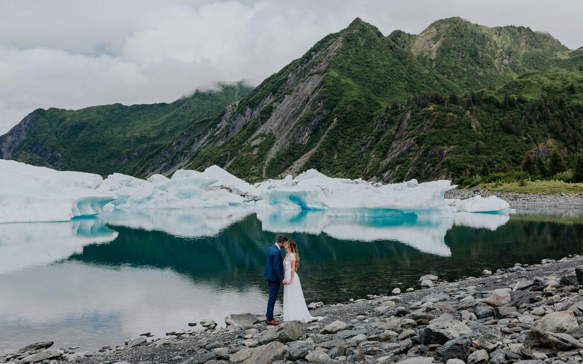 helicopter wedding alaska elopement outdoor glacier