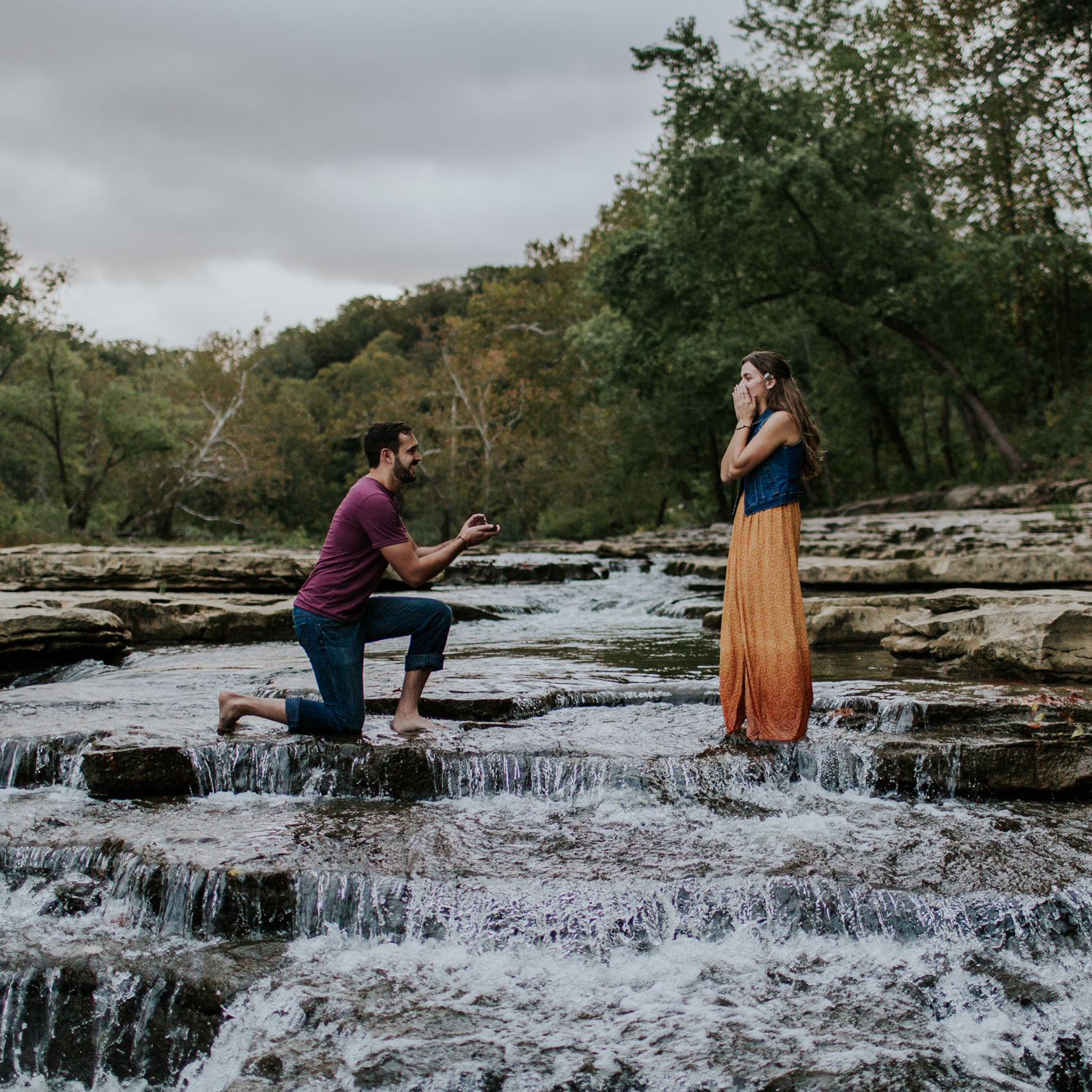 surprise waterfall proposal austin onna emily hary photography