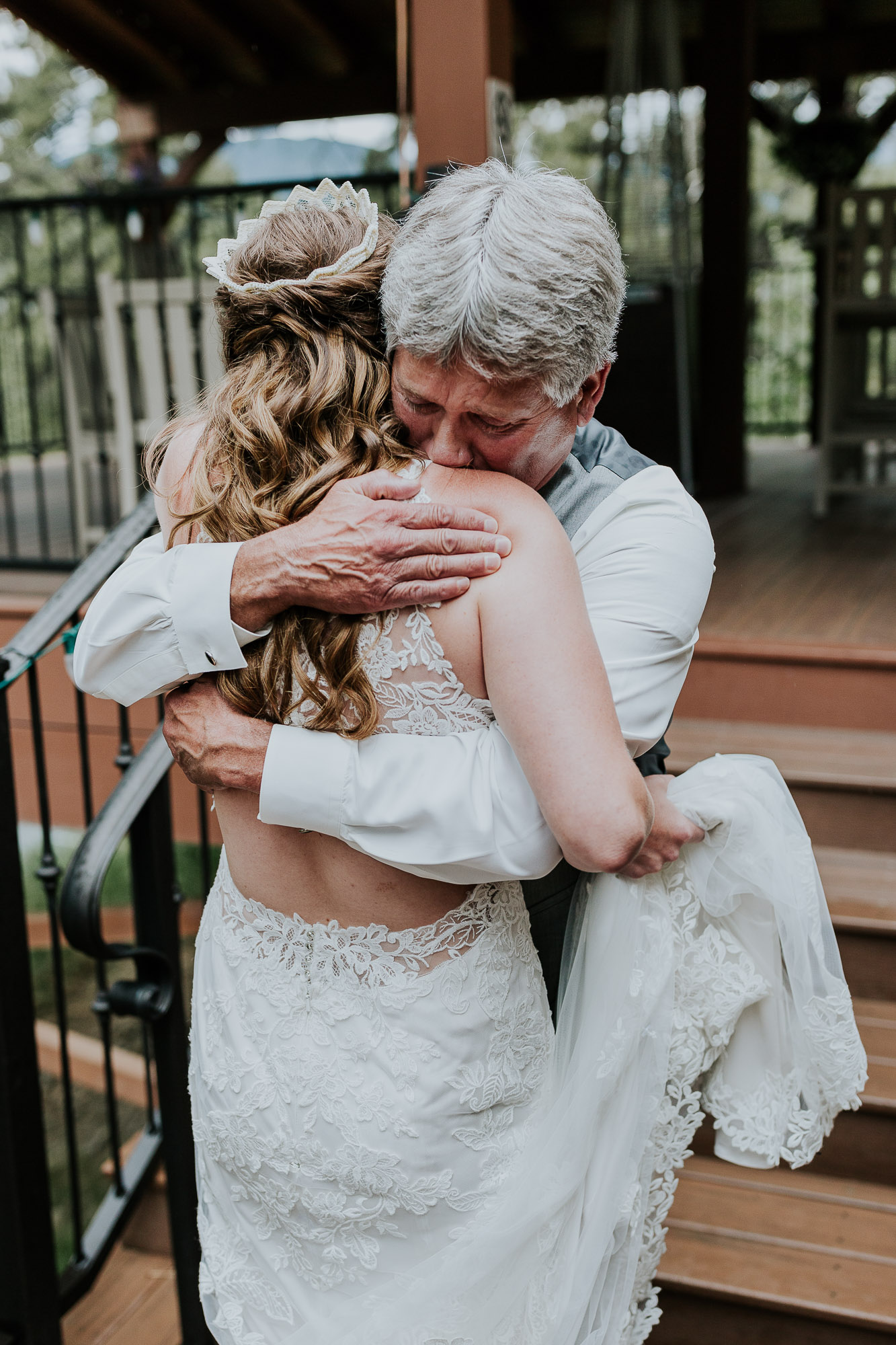 emotional first look dad wedding colorado