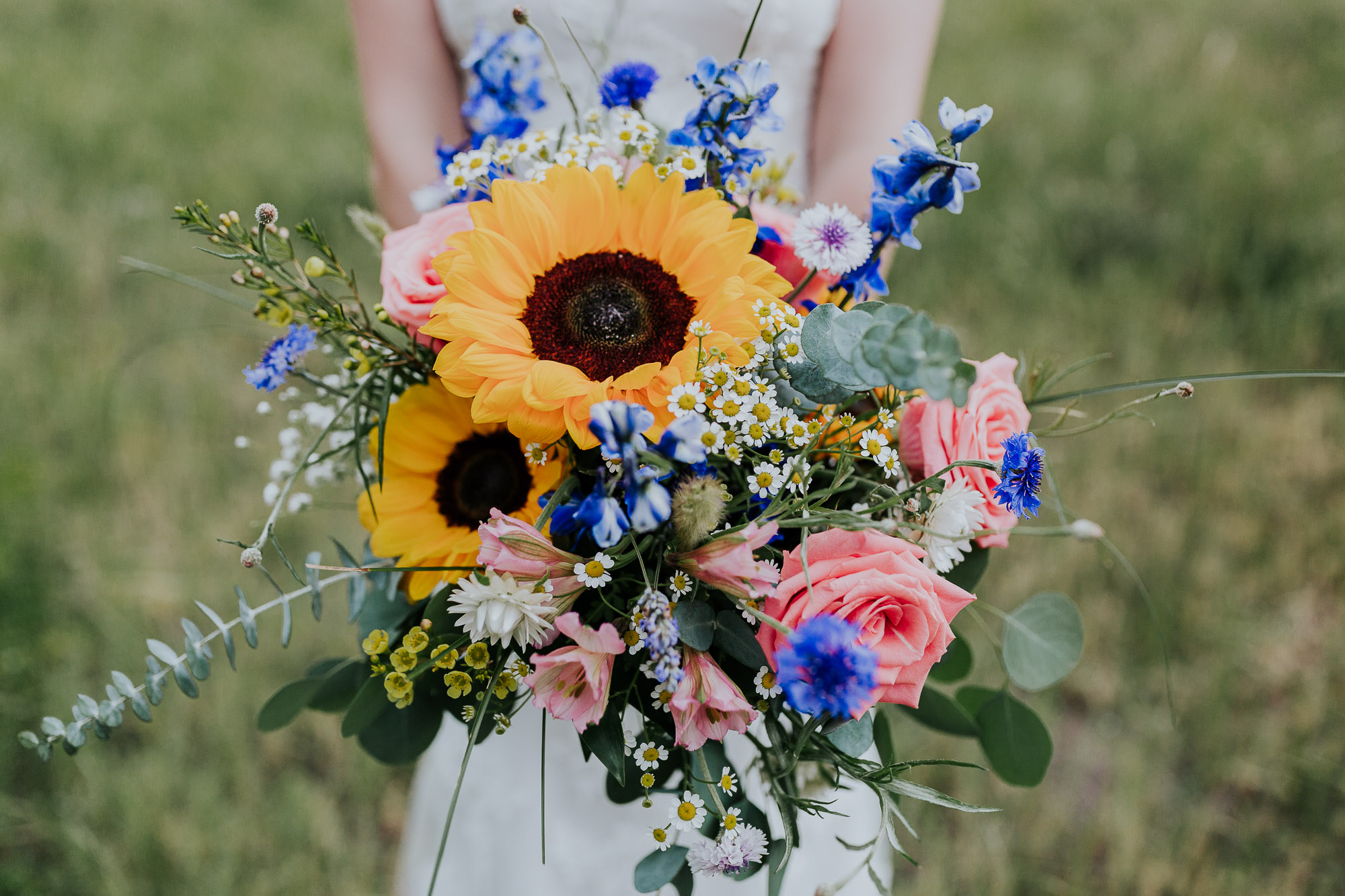 sunflower bouquet summer wedding colorado