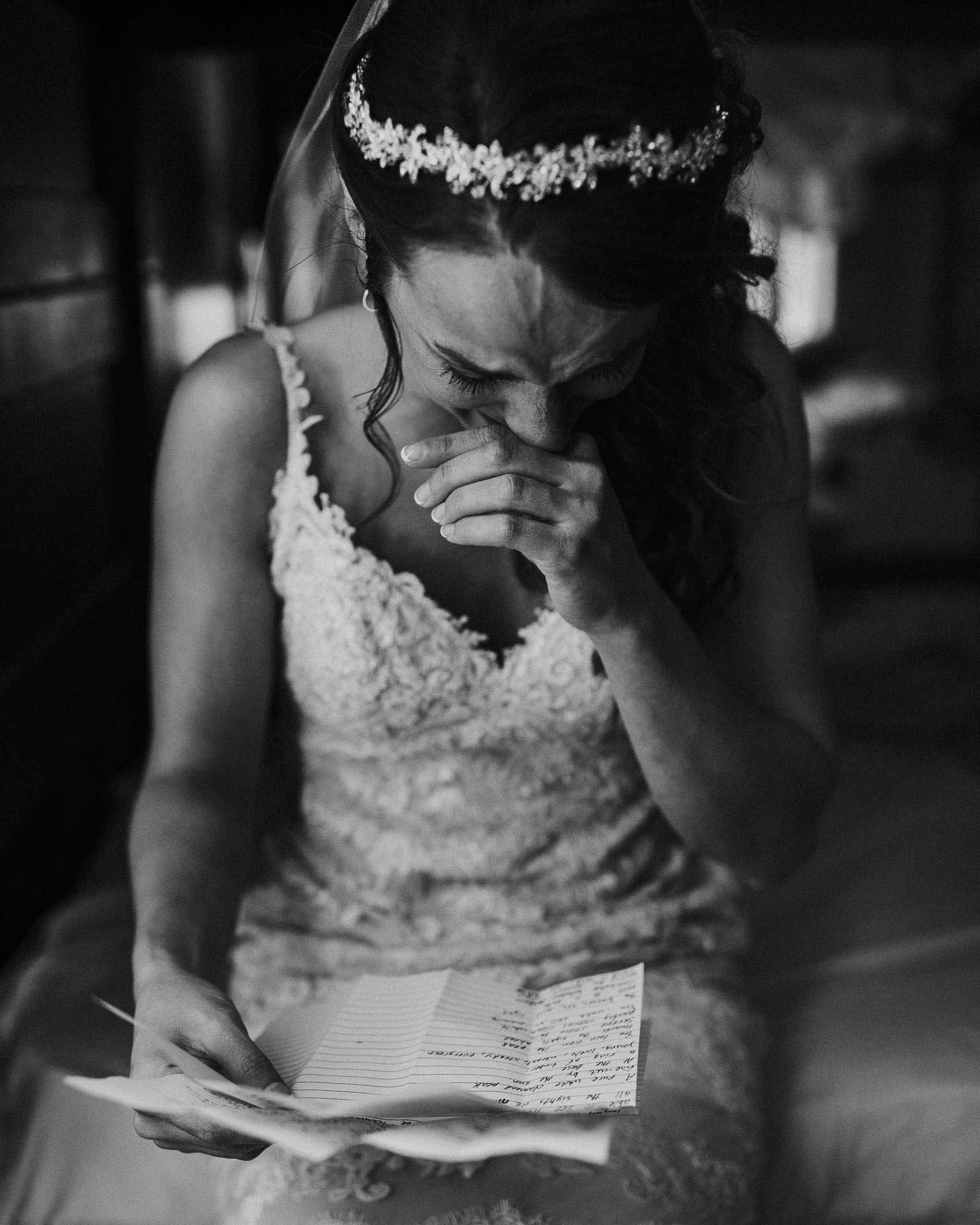 dirty boots messy hair happy tears emotional bride letters wedding emily hary photography