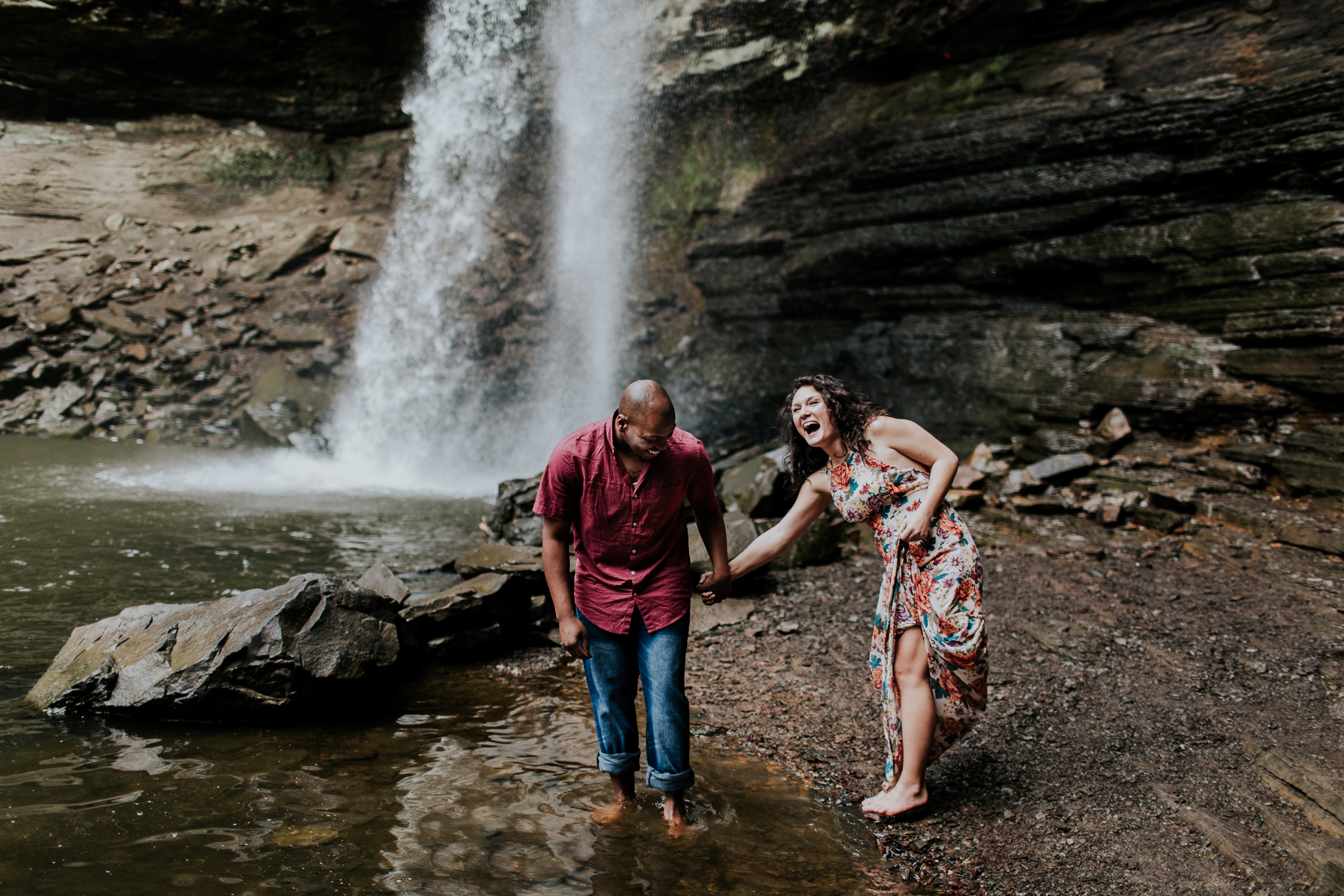 free spirited hiking engagement cedar falls arkansas