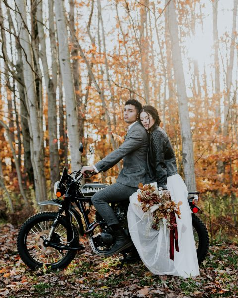 motorcycle elopement photographer michigan the fields