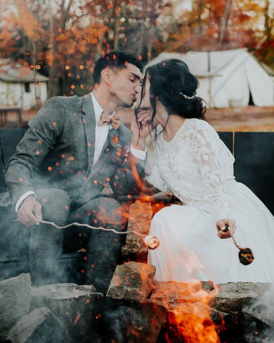 camping elopement glamping wedding campfire marshmallows outdoor elopement photographer