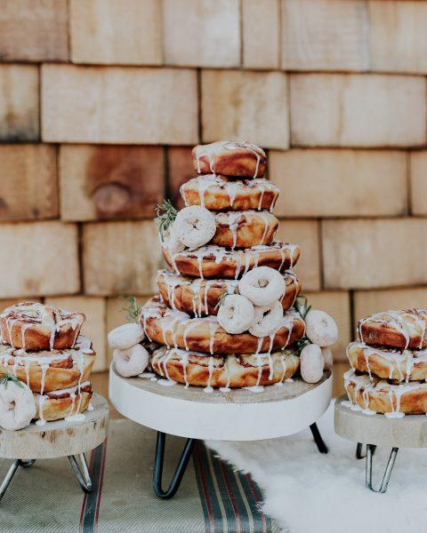 cinnamon roll cake camping wedding camp donut cake