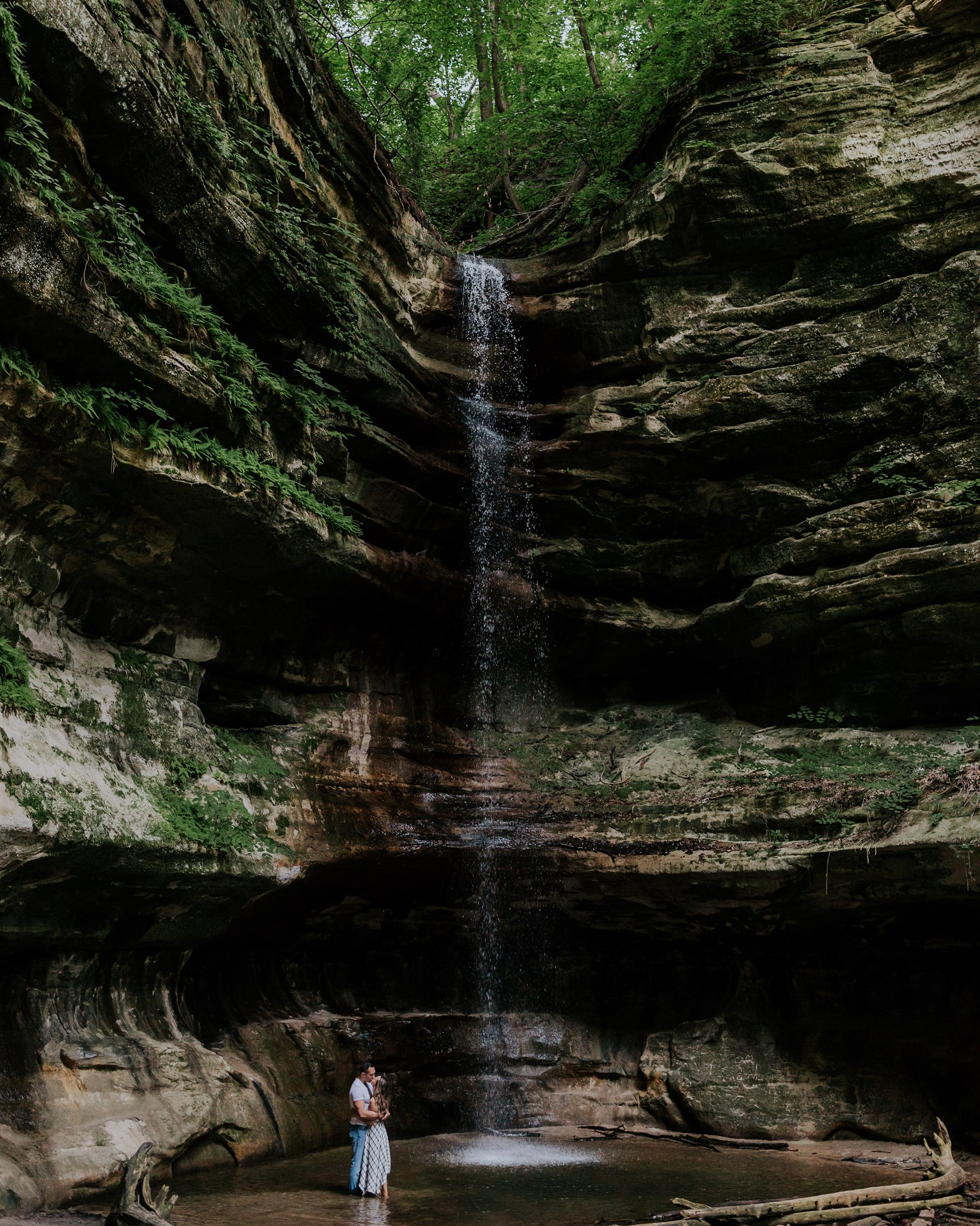 waterfall engagement photographer midwest