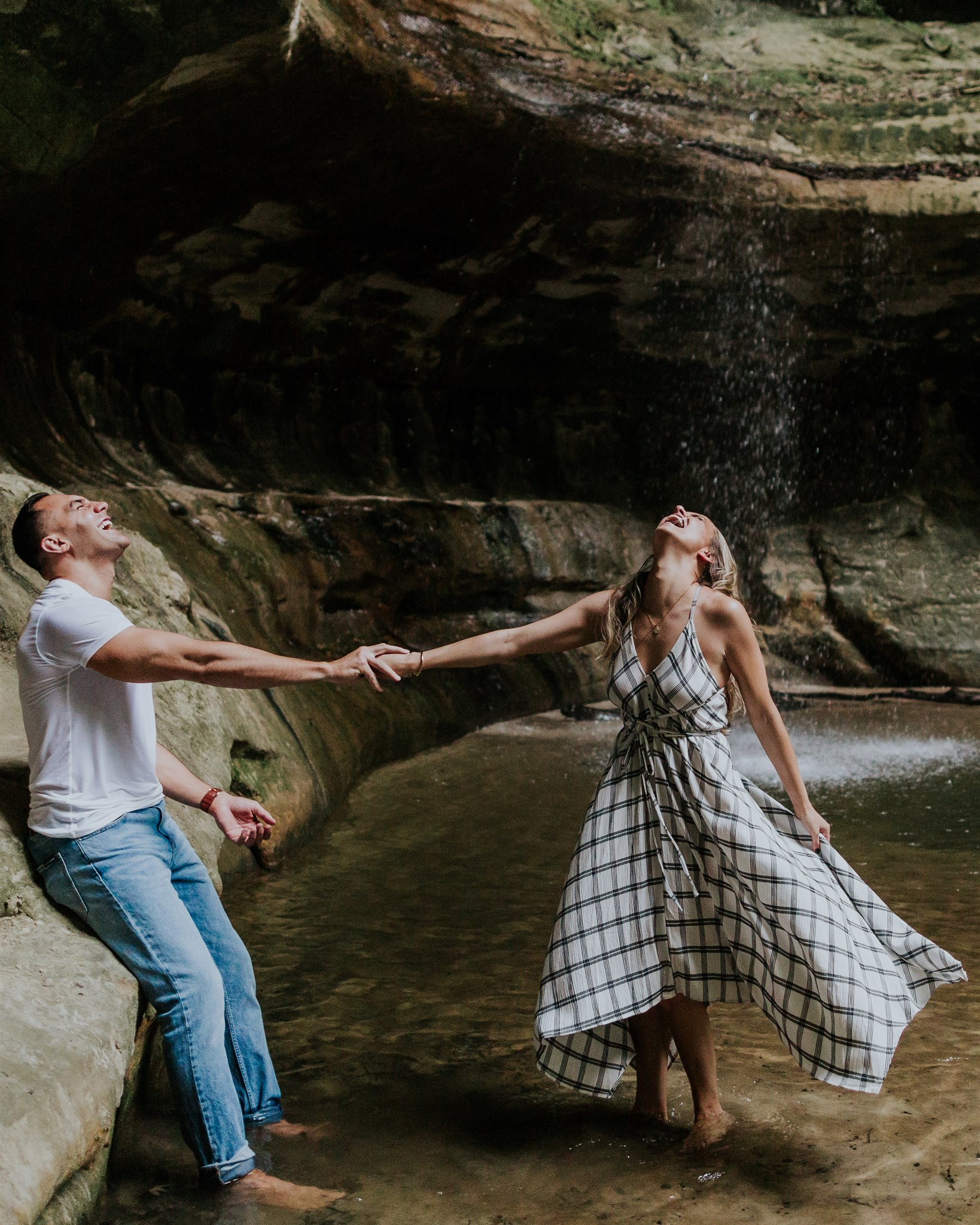 fun engagement photo ideas waterfall