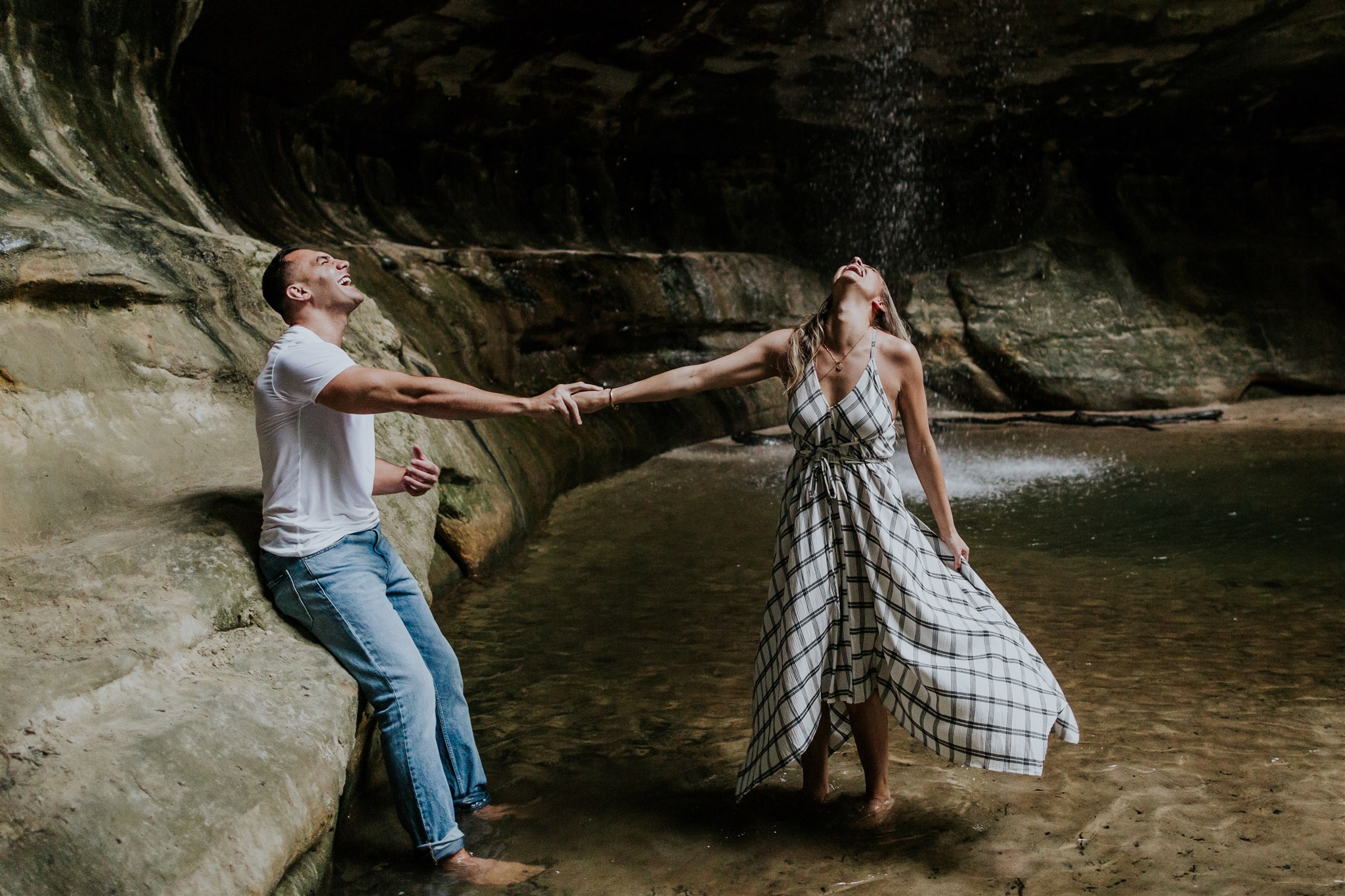 waterfall engagement photographer illinois