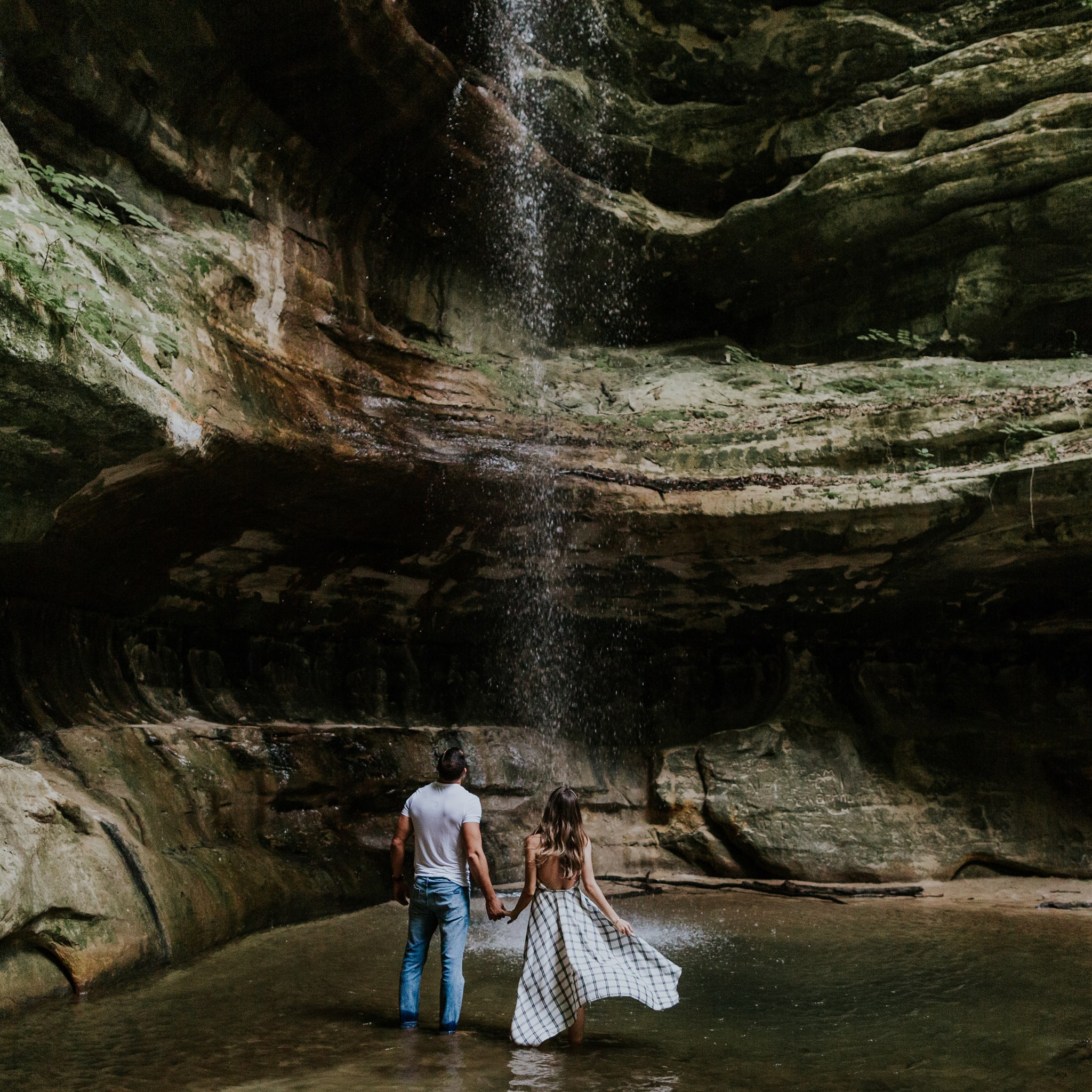 waterfall engagement pose ideas