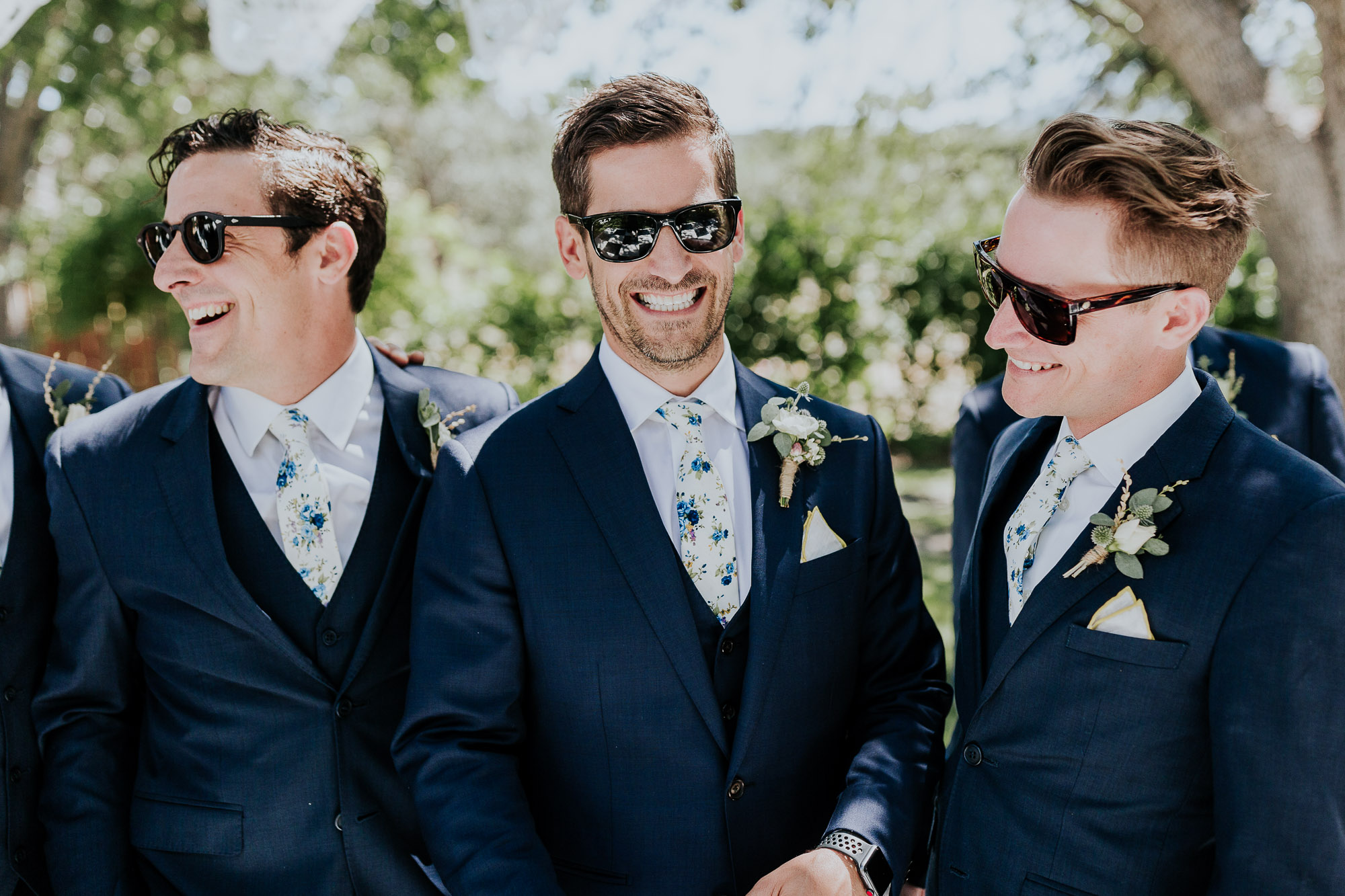 groom navy suit floral tie oregon wedding