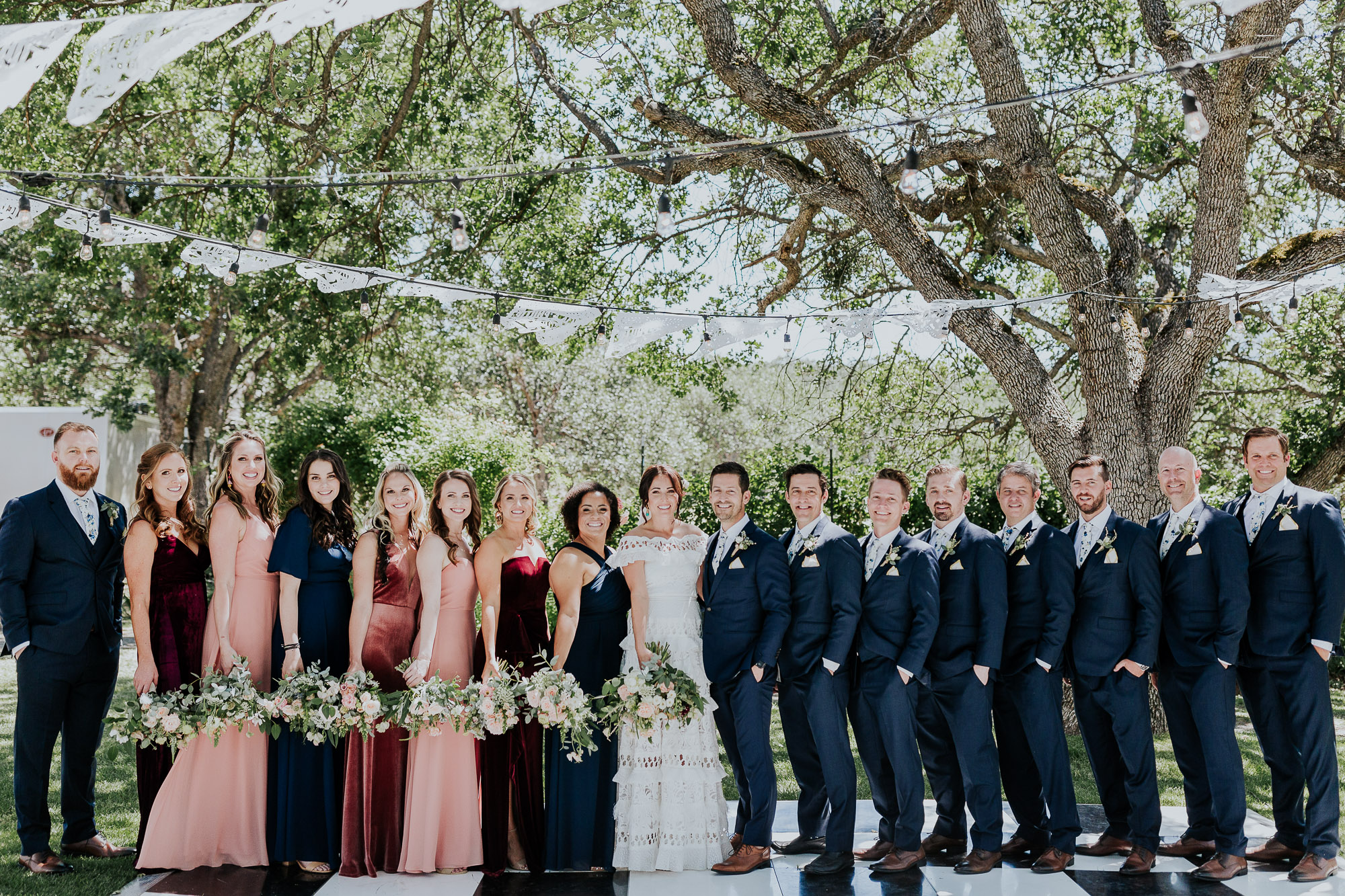 bridal party velvet bridesmaids dresses backyard wedding