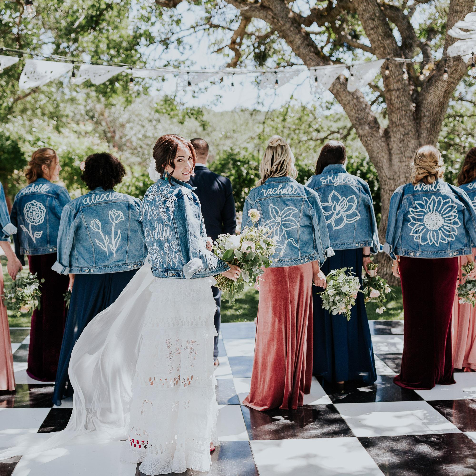 jean jackets bridesmaids backyard wedding