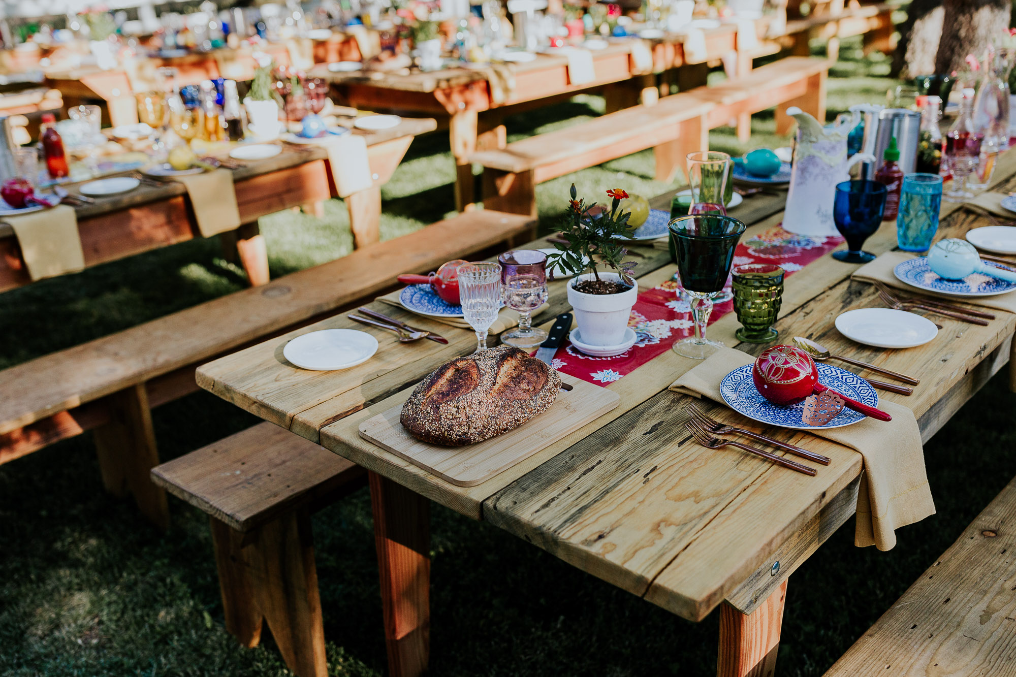 backyard spanish wedding tables reception