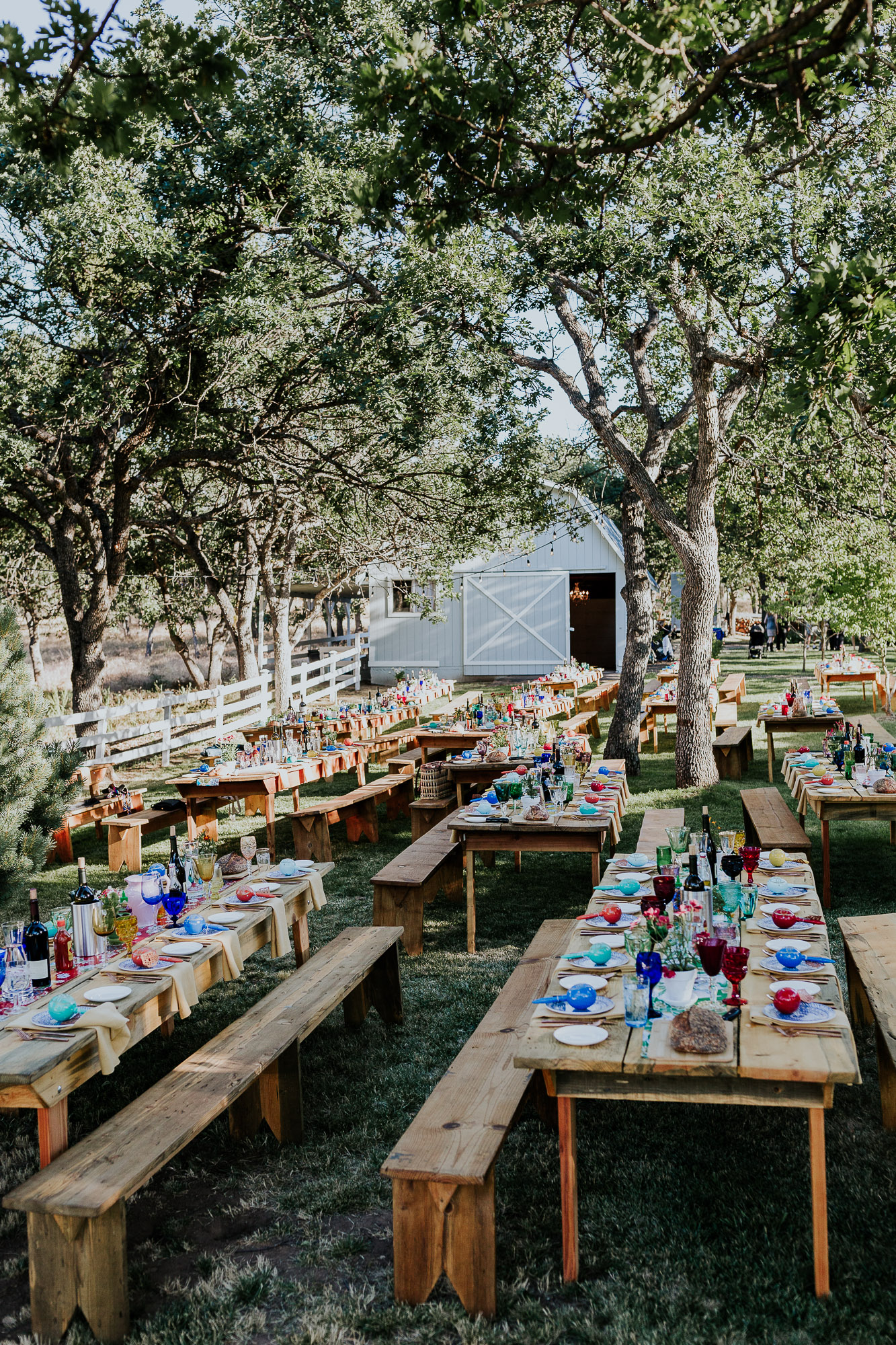 long tables with benches outdoor reception