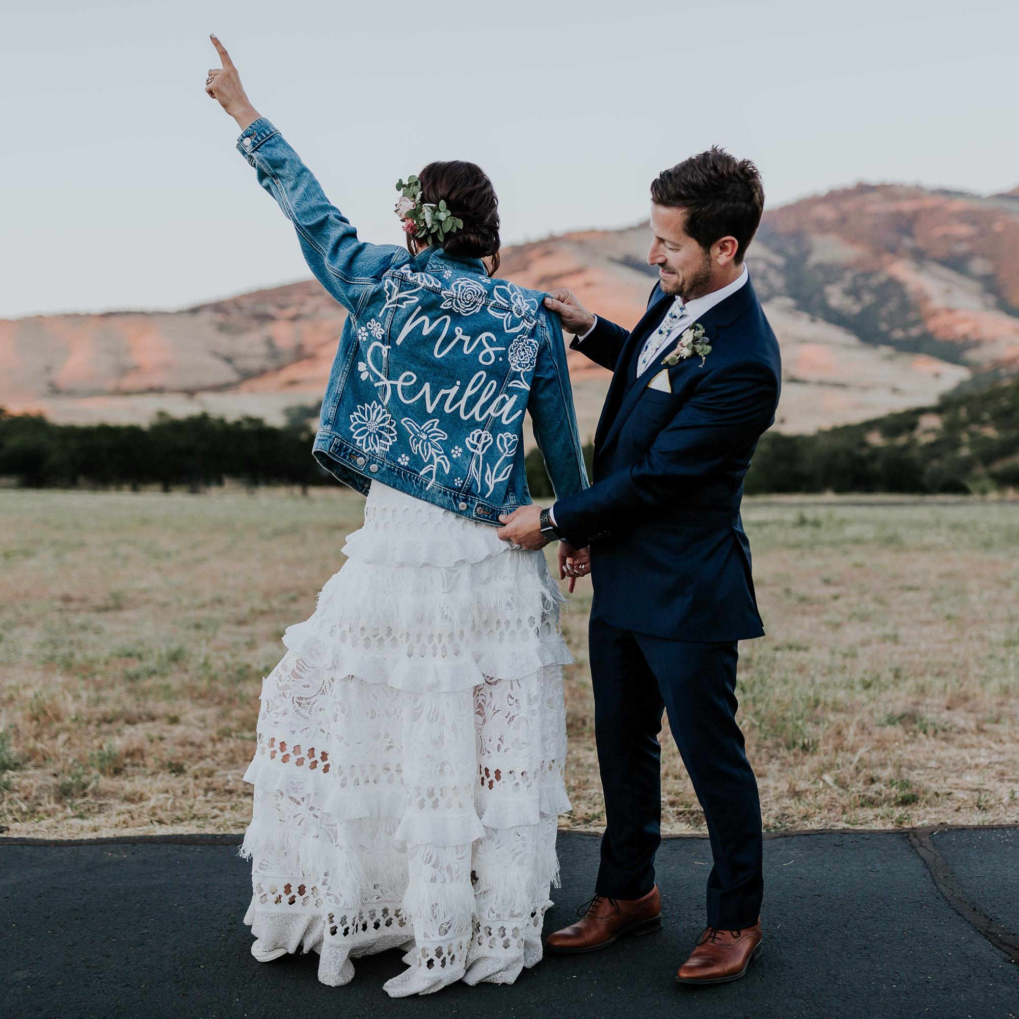 custom jean jacket bride floral