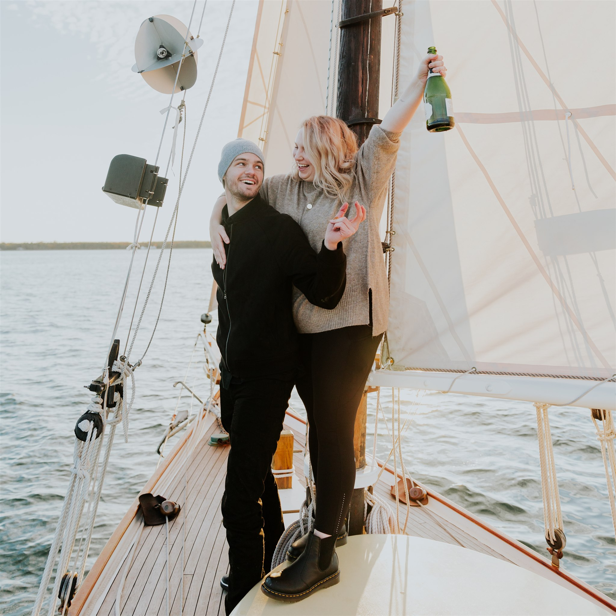 acadia national park sailing engagement photographer