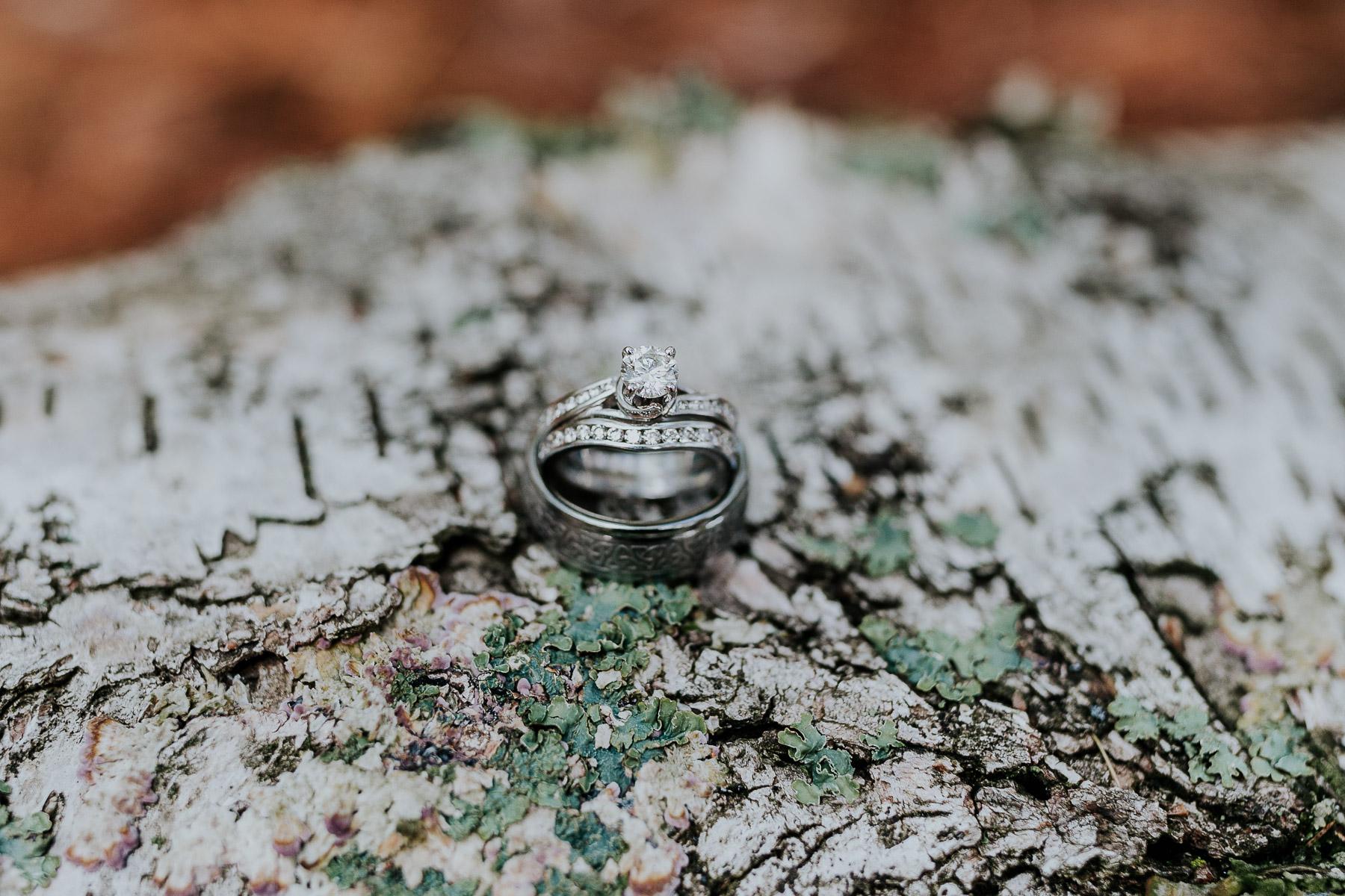 wedding rings woodsy elopement michigan