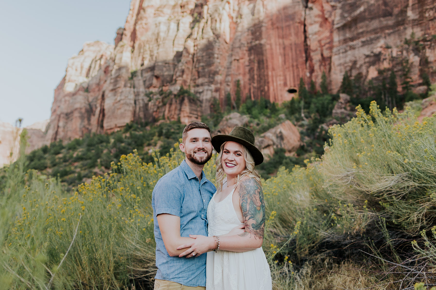 zion national park couples photos
